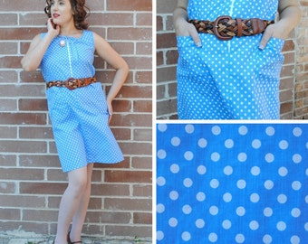 Baby Blue Polka Dot Dress with Pockets