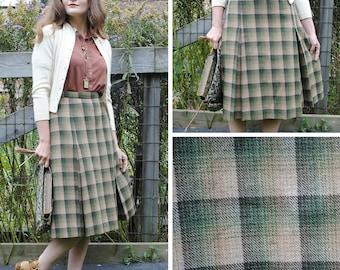 Green Plaid skirt with box pleats
