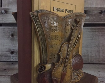 Pair Syroco Violin Bookends and Sheet Music ~ Syroco Wood