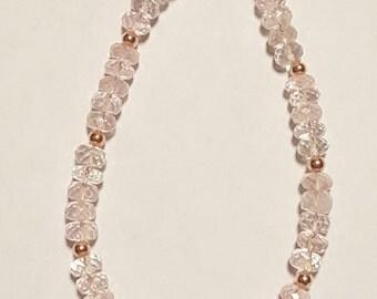 35.50ctw Morganite 14kt Rose Gold Bead Bracelet 7 inch