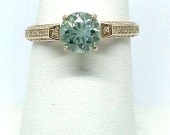 1.41ctw Moissanite with Diamond 10kt Yellow Gold Ring