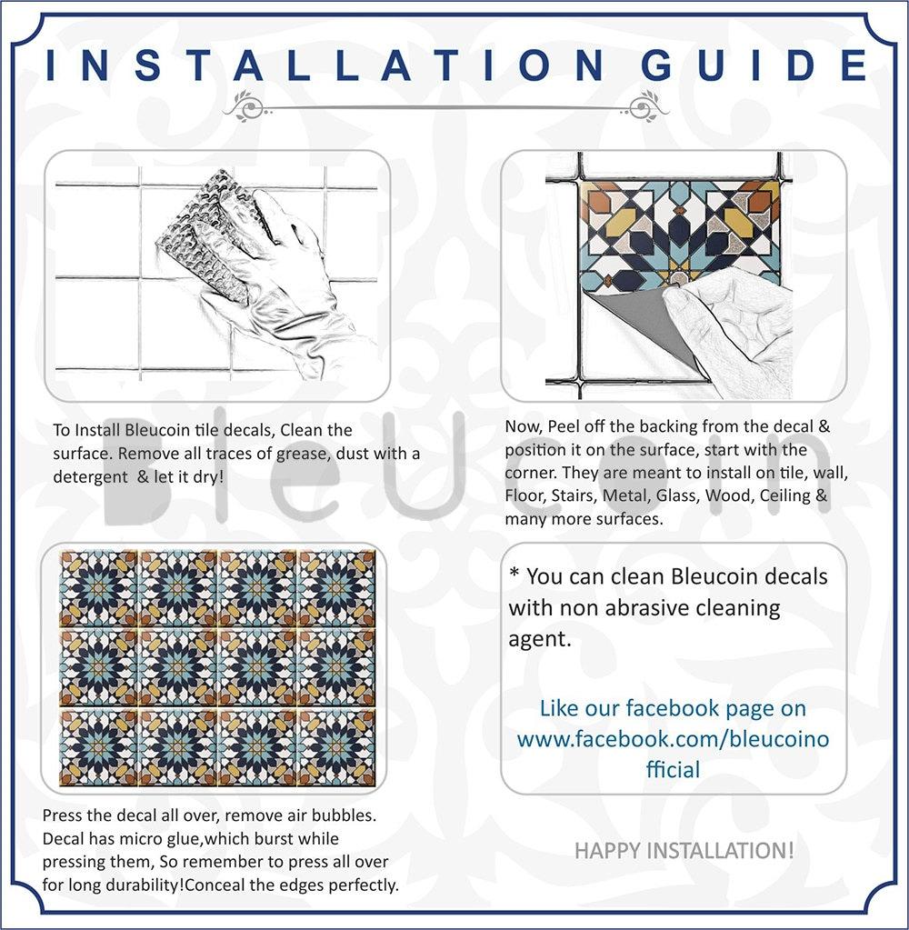 Bleucoin Tile Decal Backsplash: Kitchen/bathroom Backsplash Tile/Wall/stair Decal : By