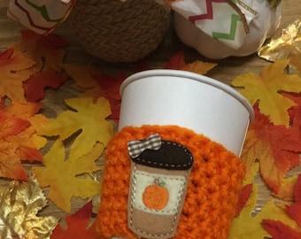 Pumpkin spice latte coffee cozy, fall coffee cozy