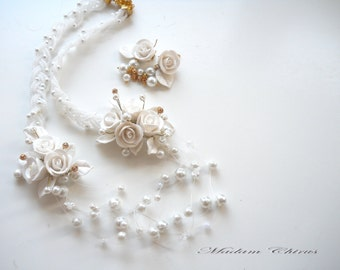 White necklace ring earrings, necklaces with roses and pearl necklace, wedding necklace, elegant necklace, a necklace , handmade jewelry.