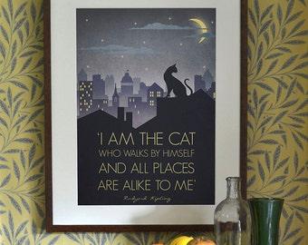 Original Design Art Deco Bauhaus A3 A2 A1 Poster Print Vintage 1930's Cat Fashion Vogue 1940's Rudyard Kipling Quote City Cityscape