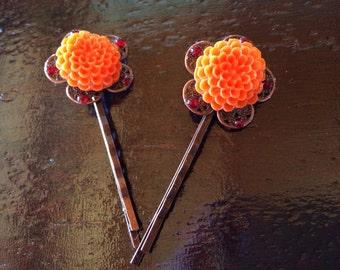 Orange and Copper Mum Bobby Pin Pair
