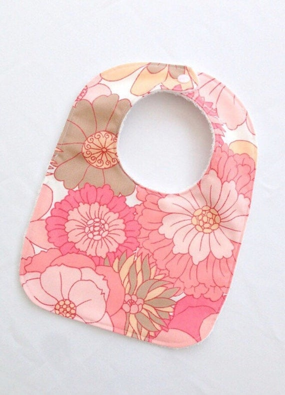 Items similar to Retro baby girls bib pink vintage