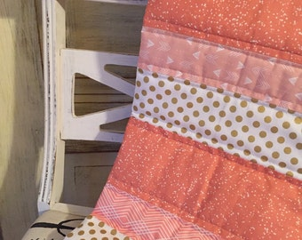 Coral Baubles Baby Quilt - Coral, Gold, Metallic