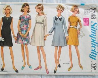 Vintage Sewing Pattern Simplicity 7748 Womens Dress 1968 Sz 34