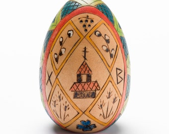 "Wooden ""Pysanky"" style egg"