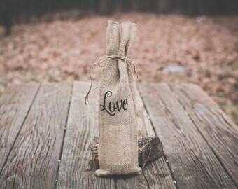Burlap Wine Gift Bag, Wine Gift Bag, LOVE Wine Gift Bag *Free Shipping*