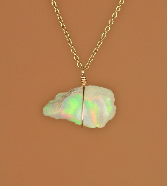 Ethiopian opal necklace - raw opal - genuine opal - natural opal - a raw genuine opal wire wrapped onto a 14k gold vermeil chain