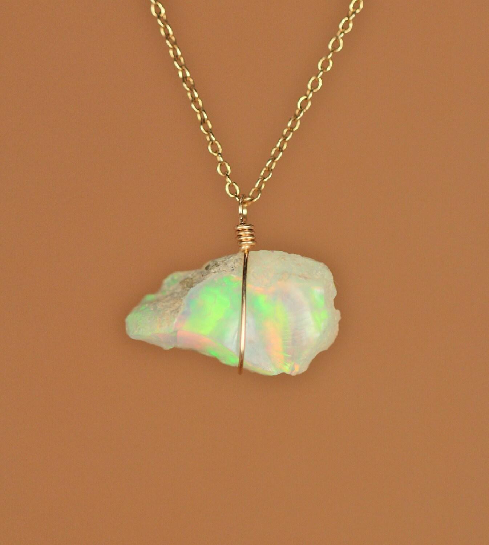 Ethiopian opal necklace raw opal genuine opal natural opal ethiopian opal necklace raw opal genuine opal natural opal a raw genuine opal wire wrapped onto a 14k gold vermeil chain 2b aloadofball Choice Image
