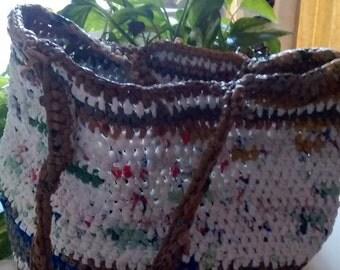 White, Tan and Grey Plarn Bag (Bag-o-Bags)