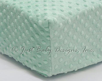 Fitted Crib Sheet - Minky Dot Mint