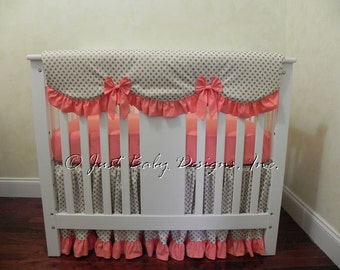 Baby Girl Mini Crib Bedding - Girl Mini Crib Baby Bedding, Crib Rail Cover, Coral and Gold Baby Bedding