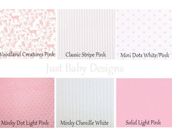 Custom Baby Crib Bedding -Girl Baby Bedding, Deer Crib Bedding, Pink Crib Bedding, Woodland Nursery