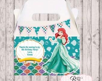 Little Mermaid favor box, Little Mermaid gable box, 10 Little Mermaid party favor gable box, Little Mermaid favor box