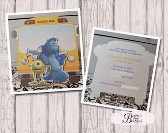Monster University Invitation,  Monsters University Birthday Invitation, Bus Invitation
