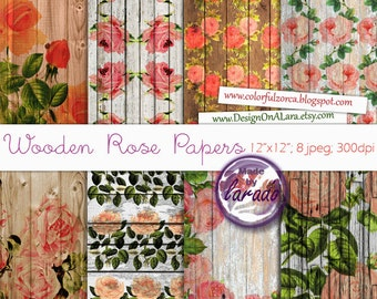 Wood Rose Papers, Vintage Roses Wood Papers, Wood Shabby digital paper, roses on wooden background, roses wood digital papers