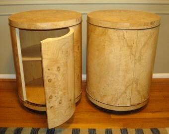SOLD  Vintage Henredon Scene Two Olive Burl and Oak Drum Tables - PAIR