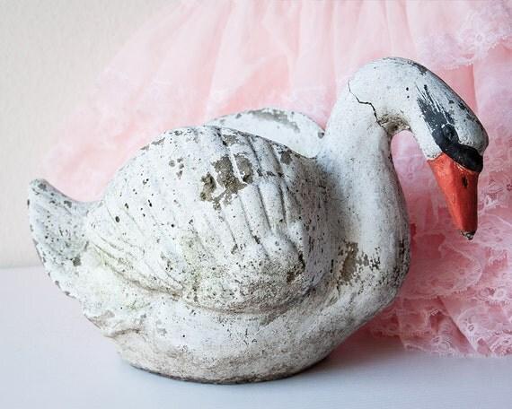 Vintage concrete swan planter cement garden bird statue flower - Concrete swan planter ...