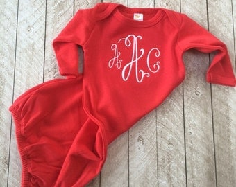 Red Monogram Baby Gown, Baby's First Valentine, Newborn gown, Going home outfit, Baby gown, Valentine Baby outfit, Personalized Baby shower