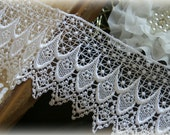 "Lace Fabric Trim, White Lace Fabric, Guipure Lace, Venice Lace, Bridal Lace, Costume Design, Lace Applique, Crafting, approx. 5"" NW-003"