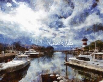 Harbourtown Lighthouse / Digital Painting Print Hilton Head Island Photography Sea Pines Resort