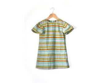 1960s Girls Dress, 60s Girls Dress, Vintage Girls Dress, Stripe Dress, Green Stress, Vintage Clothing