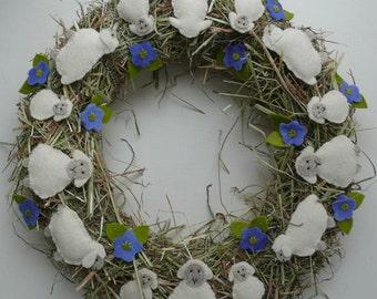 Sheep Wreath, DIY kit without straw wreath