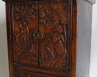 Miniature Cabinet with Bird and Flower Carving