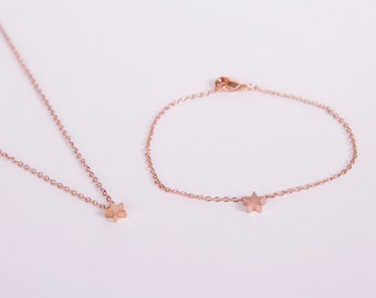 Set Rose Gold Plated Bracelet And Necklace Star Rose Golden Starlet Star Bracelet And Star Rosegolden Necklace