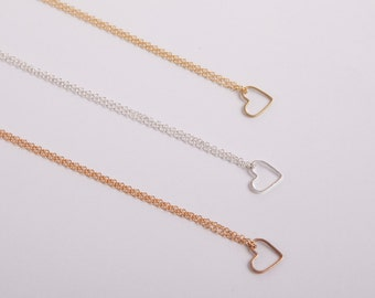 Fine  Silver Or Gold Or Rosegold Necklace Heart Silverheart Heart Necklace Love Valentines Day Silver Plated