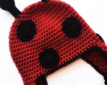 Crochet LadyBug Hat, LadyBug Hat, LadyBug Beanie, Ladybug, Baby Hat, Crochet Hat
