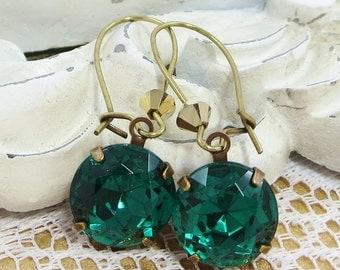 Emerald Green Earrings Dangles Estate Style Victorian Downton Abbey Jewelry Gift