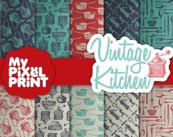 Vintage Kitcken - Red and Blue - Cooking Utensils Pots Pans Cutlery Wine - Digital Scrapbooking Paper Pack - My Pixel Print