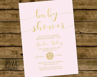Gold Foil Baby Shower Invitation - Printable Invites, Gold Baby Shower, Birthday Party, Bridal Shower - Choose Your Color - ANY EVENT