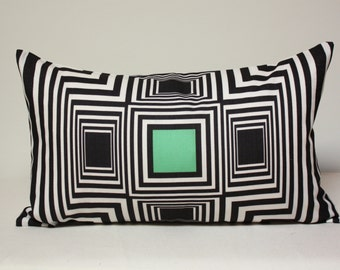 12x20 Geometric Optical illusion pillow, squares, green square, fuchsia square, lumbar pillow
