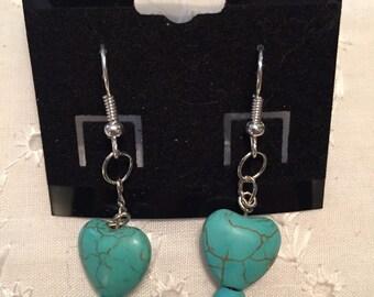 Turquoise heart beaded earrings
