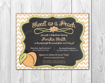 Sweet at a Peach | Baby Girl Shower Invitation (8 Invitations and 8 Envelopes)