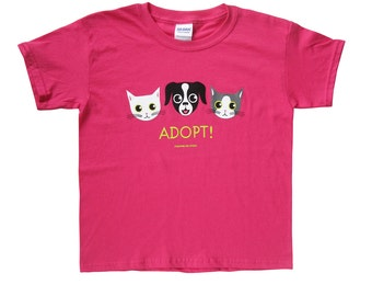 Children's Adopt Dog and Cat Tee in Pink ON SALE!