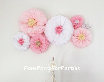 Oversized paper flowers 6 units. Flower backdrop wall. Nursery centerpiece. Romantic wall decor. Princess party decorations. Pink. White