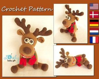 CROCHET PATTERN - Deer, Amigurumi Deer Pattern, Christmas Deer, Animal Crochet Pattern, Reindeer, CP-134