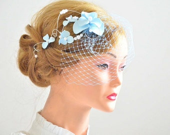 Pale blue birdcage veil headband Birdcage veil headband Bridal veil fascinator Bridal headpiece Head piece  Flower headpiece