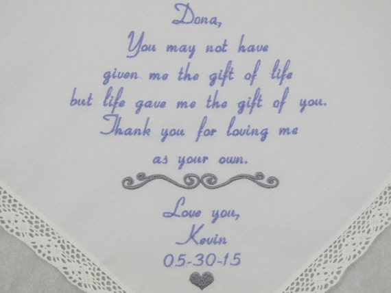 Step Mom of the Groom Handkerchief Wedding Gift for Step Mother of the ...