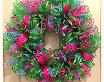 Spring Pink, Lime, Turquoise and Purple Deco Mesh Wreath/Lime, Purple, Turquoise and Hot Pink Wreath/Spring Wreath