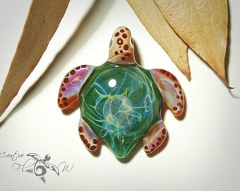 Glass Jewelry - Evergreen Baby Turtle Pendant - Glass Art - Blown Glass - Handmade - Unique Jewelry - Boro Pendant - Universe Filament