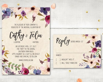 Wedding Invitation and RSVP - Faunia Modern Rustic Medley Purple Flowers Invitation Personalized Card Suite