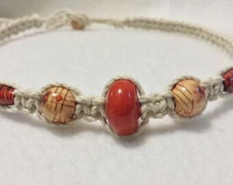 Vintage Glass & Wood Bead Hemp Necklace - Hemp Choker - Handmade Hemp Jewelry